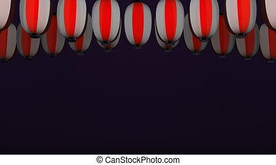 Red White Paper Lantern On Purple Background.