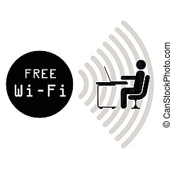 Free WiFi Sign - Monochrome free WiFi sign isolated on white...