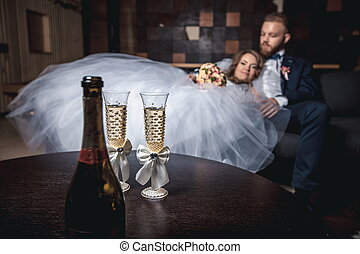 Couple with glass of champagne