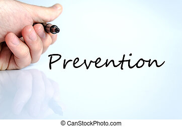Prevention - Human hand writing Prevention isolated over...