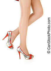 Beautiful female legs - Side view of beautiful female legs...