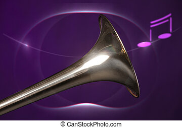 Trombone Bell Isolated On Purple - A gold brass trombone...