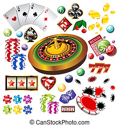 The set of vector casino elements or icons including...