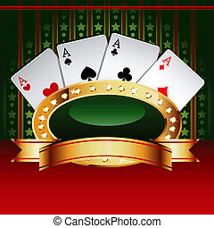 Casino vector banner with cards - Casino vector banner with...