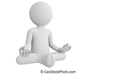 3D man perform meditation as yoga isolated with white...