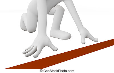 3D runner at starting line isolated with white background