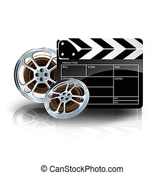 video film tape with cinema clapper and filmstrip on blue backgr