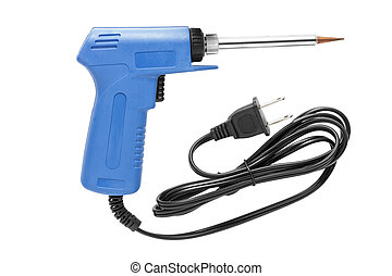 Blue soldering iron gun isolated on white background.