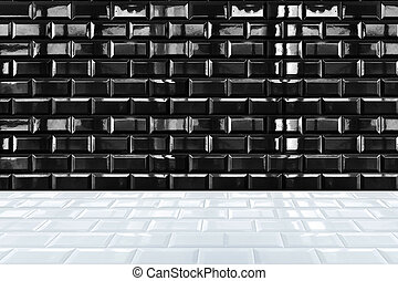 Glossy White Ceramic brick tile wall and black tile floor