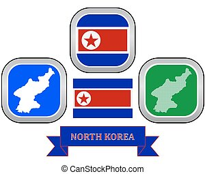 Map of North Korea - map and flag of North Korea symbol on a...