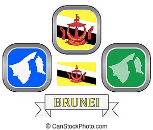 Brunei map - map button and flag of Brunei symbol on a white...
