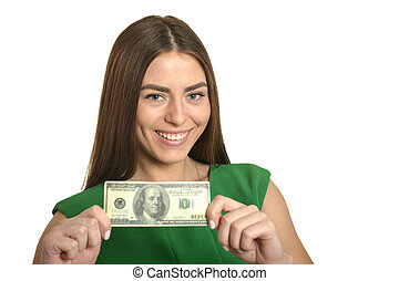 Woman in dress with money - Beautiful woman in green dress...