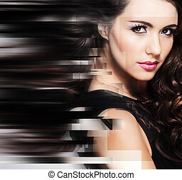 Beauty portrait of young attractive woman - Abstract...