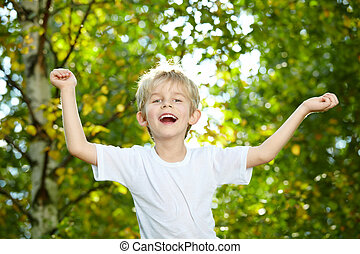 Laughing child - Portrait of the small laughing boy against...