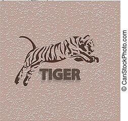 vector, silueta, tiger.,