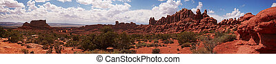 Desert panorama, Arches National Park, Utah, USA