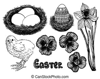 Easter set. Collection of hand - drawn Easter related...