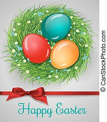 Easter eggs - Easter card. Nest made of grass and decorated...
