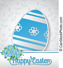 Easter card. Blue paper egg, white card with lettering and...
