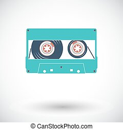 Audiocassette single icon. - Audiocassette. Single flat icon...