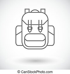 Rucksack. Single flat icon on white background. Vector...