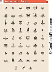 United States landmarks set - Icon set represents each state...