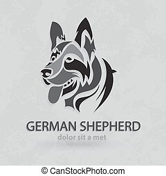 Vector stylized German Shepherd - Vector stylized silhouette...
