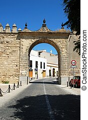 Town arch, Jerez de la Frontera - View of the town gate...