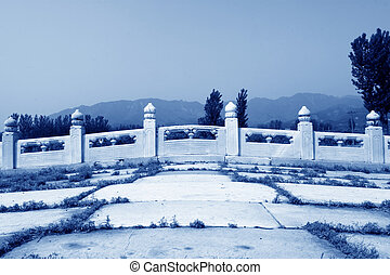 White marble stone bridge railings in the Eastern Tombs of the Q