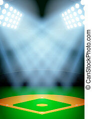 Background for posters night baseball stadium in the...