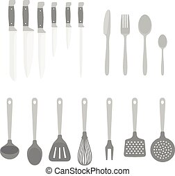 Different kitchen accessory isolated on white. Design elements