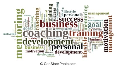 Coaching. - Illustration with word cloud, related to...