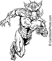 Mean boar character - An illustration of a boar sports...
