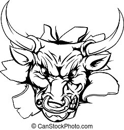 Bull breakthrough - Cartoon fierce bull mascot animal...
