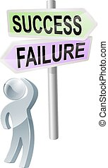 Success or Failure decision - A person with a decision to...