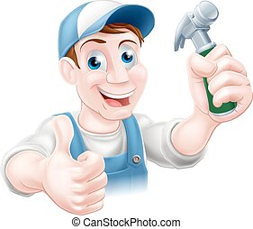 Handy man holding hammer - A happy cartoon handyman or...