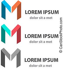 Creative vector origami icon set, letter m. Abstract ribbon...