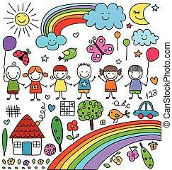 child like drawings set