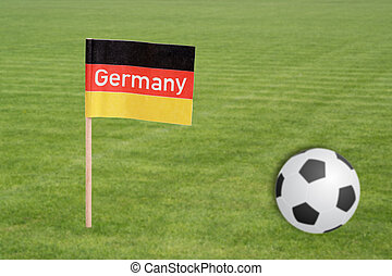 Football field - Soccer field with football and german flag...