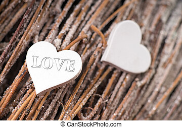 Love - two hearts decoration with the word LOVE