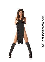 Sexy woman in fetish wear