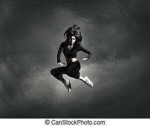 jovem, e, excitado, modernos, dançarino, sobre,...