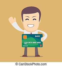Businessman holding a bank card - Happy Businessman holding...