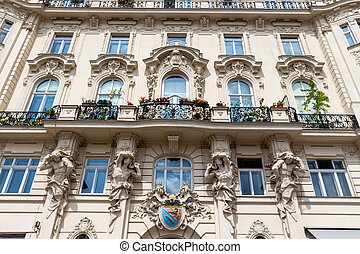 austria, vienna, art nouveau houses at the naschmarkt -...