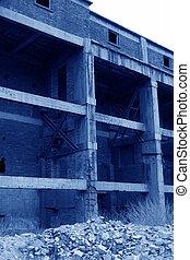 concrete pouring abandoned building - concrete pouring...