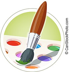 Brush and set of paint. Eps10 vector illustration. Isolated...