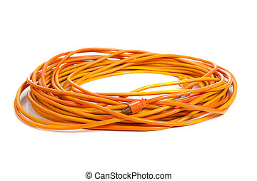 An orange extension cord on white