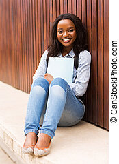 african college girl portrait on campus