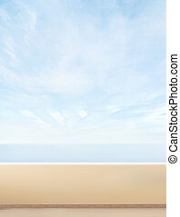 Blue sky, balcony and sea. Summer background with a blank copy-space.