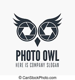 Logo, label, badge, emblem or logotype element with owl and...